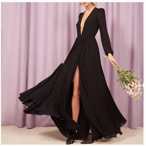The Reformation deep V neck decolte dress Black S